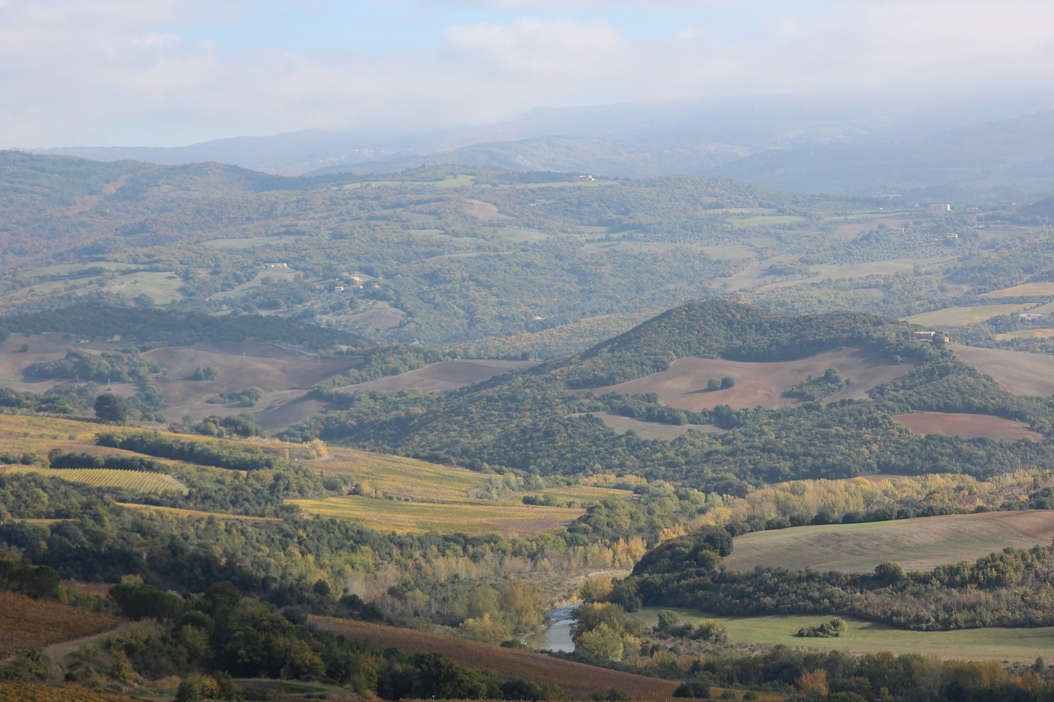 Val d'Orcia, Tuscany on the border between the Province of Siena (left) and the Province of Grosseto (right)