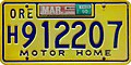 Oregon 1990 Motor Home License Plate, Yellow Irwin-Hodson.jpg