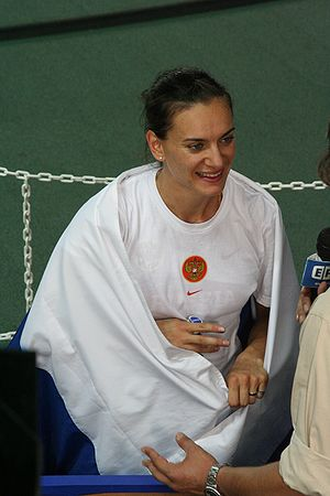Yelena Isinbayeva - Isinbayeva being interviewed after her victory at the 2007 World Championships in Athletics in Osaka.