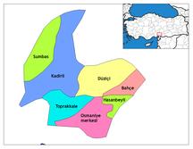 Provincia di Osmaniye-Suddivisione amministrativa-Osmaniye districts