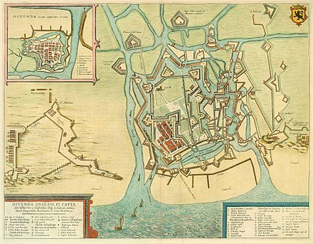 A map showing the extensive polygonal fortifications around the city of Oostend, 1601-4, a prolonged siege which cost the Army of Flanders 80,000 casualties, and the Dutch 60,000. Ostenda obsessa et capta.jpg