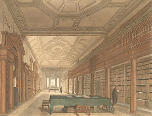 Richard Hakluyt - The library of Christ Church, Oxford, by an unknown artist, from Rudolph Ackermann's History of Oxford (1813)