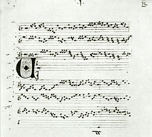 Rhythmic mode - Pérotin, Viderunt omnes (Gradual for Christmas Day), in the first rhythmic mode. MS Florence, Biblioteca Medicea-Laurenziana, Pluteo 29.1, fol. 1 recto.