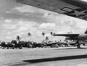 Naval Air Station Agana -  Newly arrived P-47 Thunderbolts lined up in a maintenance area at Agana Airfield on March 28, 1945.