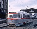PAAC PCC 1623, a -44 KNOXVILLE AND PENNSYLVANIA STATION car at P&LE transfer near the Smithfield Bridge, Pittsburgh, PA on September 1, 1965 (26740027996).jpg