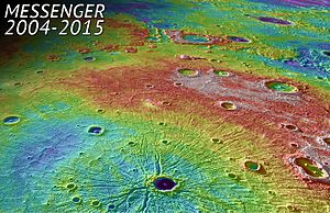 Mercury (planet) - Perspective view of Caloris Basin – high (red); low (blue).