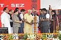 PM Modi lays the foundation stone of the Jawaharlal Nehru Port Trust Special Economic Zone, at Sheva in Navi Mumbai.jpg