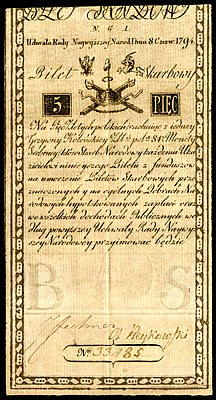 POL-A1a-Bilet Skarbowy-5 Zlotych (1794 First Issue).jpg
