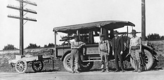 Pacific Bell - Pacific Telephone and Telegraph Co. service crew, Feb. 1921