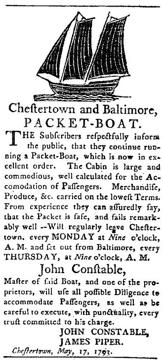 Packet boat - 1793 newspaper ad for a packet schooner, Chestertown, Maryland