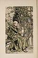 Padre Alonzo on a bench with Loretta the parrot (Arthur Rackham illustration).jpg