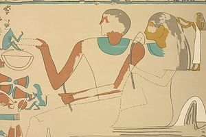 Sobeknakht II - Sobeknakht II and his wife on a painting from his tomb. Drawing by J.J. Tylor