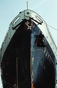 Painting on the bow of the German cargo ship Nabob in the harbor of NY - 1959.jpg