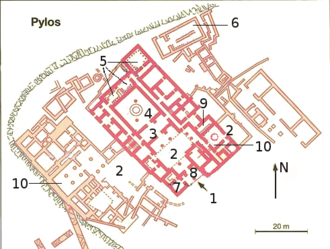 Palace economy - Palace of Nestor (Pylos). 1–Entrance. 2–Court. 3–Anchamber. 4–Megaron (main hall). 5–Storerooms with olive oil. 6–Storerooms with wine. 7–Archives. 8–Propylon. 9–Bath. 10–Small megaron.