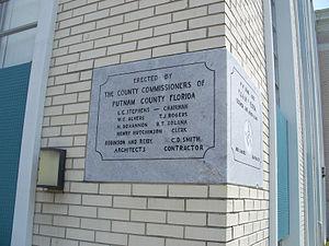 Putnam County Courthouse (Palatka, Florida) - Image: Palatka Putnam cty crths cornerstone 01