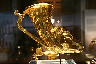 History of Bulgaria - A golden rhyton, one of the items in the Panagyurishte treasure, dating from the 4th to 3rd centuries BC.