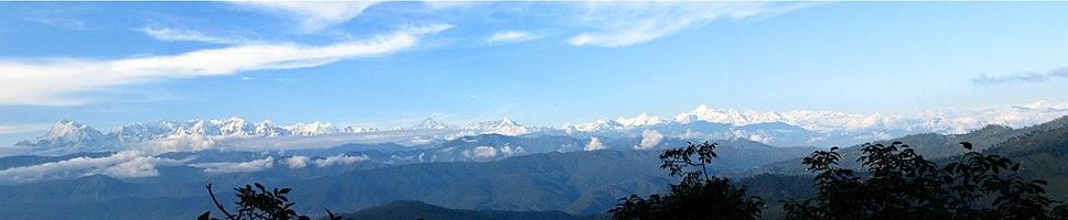 Panoramic view of the Himalayas from Kausani, Uttarakhand