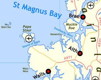 Ve Skerries - Map of the Ve Skerries Baylish