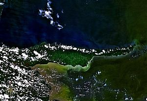 Paria Peninsula - Satellite photo of the Paria Peninsula, between the Caribbean Sea (above/north) and Gulf of Paria (below/south).