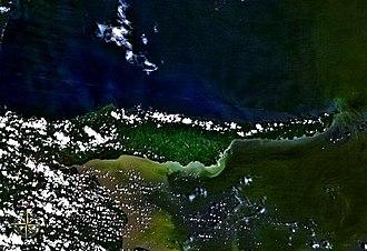 Paria Peninsula - Satellite photo of the Paria Peninsula, between the Caribbean Sea (above/north) and Gulf of Paria (below/south).