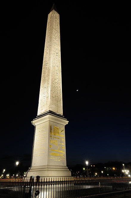 The Obelisk of Luxor stands on top of a pedestal that recounts the special machinery and manoeuvres that were used to transport it. Paris ObeliskConcordre (pixinn.net).jpg