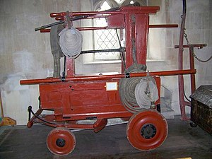 Richard Newsham - Oldest known fire engine by Newsham purchased in 1728, St Giles Church, Great Wishford - geograph.org.uk - 957081. Image: Trish Steel