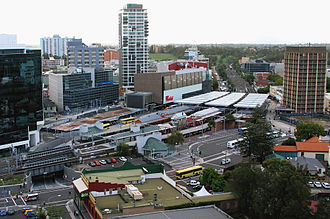 Parramatta railway station - Aerial view of the station in 2007