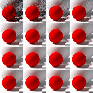 Path tracing - Noise decreases as the number of samples per pixel increases. The top left shows 1 sample per pixel, and doubles from left to right each square.