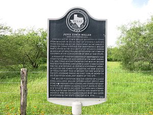 Edwin Waller - Judge Edwin Waller historical marker is west of Pattison, Texas at FM 1458 and Buller Road.
