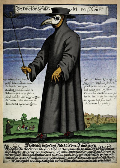 A plague doctor and his typical apparel during the 17th Century Outbreak. Paul Furst, Der Doctor Schnabel von Rom (coloured version).png