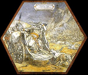Alessandro Franchi (painter) - The Death of Ahab  (paving stone at Siena Cathedral)