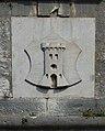 Pazin Pfarrkirche - Kirchturm 2 Stadtwappen.jpg