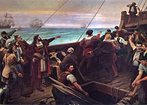 Portuguese Brazilians -  Portuguese explorer Pedro Álvares Cabral (center-left, pointing) sights the Brazilian mainland for the first time on 22 April 1500.