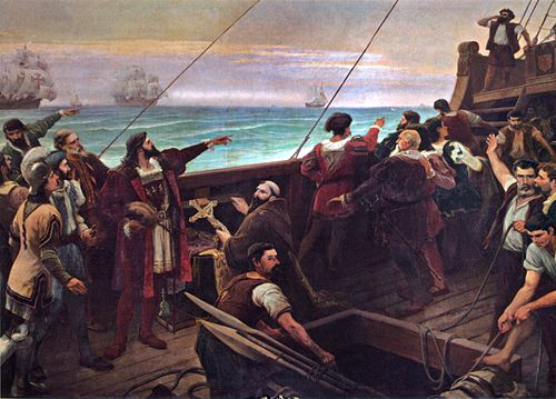 Cabral (center-left, pointing) sights the Brazilian mainland for the first time on 22 April 1500. Pedro alvares cabral discovery of brazil 1500.jpg