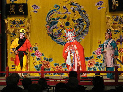 The stories in Journey to the West are common themes in Peking opera. Pekin przedstawienie tradycjnego teatru chinskiego 7.JPG