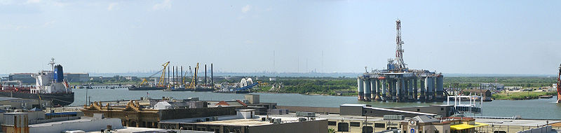 Panoramic view of the western portion of Pelican Island, including the campus of Texas A&M University at Galveston and the Galveston Ship Channel.