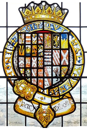 Henry Percy, 6th Earl of Northumberland - 17th century stained glass escutcheon showing arms of Henry Percy, 6th Earl of Northumberland (c.1502–1537), KG, (with 16 quarters) impaling Talbot (with 9 quarters), paternal arms of his wife, all circumscribed by the Garter. Detail from Percy Window, Petworth House, Sussex