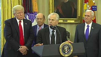 Peter Navarro - Image: Peter Navarro, Director of the White House National Trade Council, Addresses in the Oval Office before U.S. President Donald Trump Signs Executive Orders Regarding Trade on March 31, 2017 4