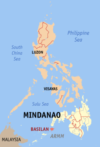 2007 Basilan beheading incident - Map of the Philippines showing the location of Basilan.