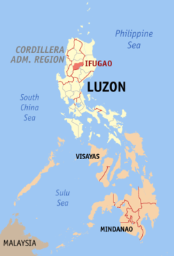 Map of the Philippines with Ifugao highlighted