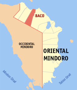 Map of Oriental Mindoro showing the location of Baco