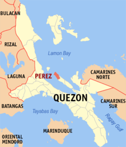 Map of Quezon showing the location of Perez