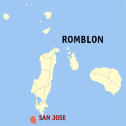 Map of Romblon with San Jose highlighted