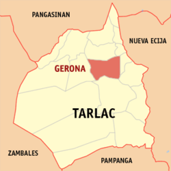 Map of Tarlac showing the location of Gerona