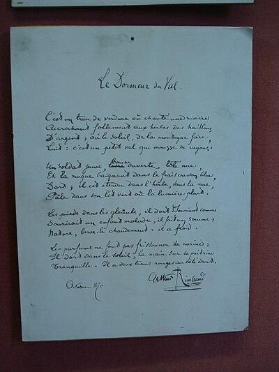 Histoire de la po sie vikidia l encyclop die des 8 13 ans - Illustration de la poesie le dormeur du val ...
