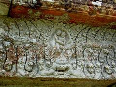Pediment showing Krishna fighting Arjuna, gopura three