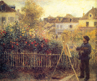 Anne Parrish - Monet painting in his garden in Argenteuil, by Pierre-Auguste Renoir
