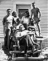 Pierre Gauvreau, Francoise Sullivan, Louise Renaud, Madeleine et Mimi Lalonde, Claude Gauvreau et Marcel Barbeau a Saint-Hilaire, 1946.jpg
