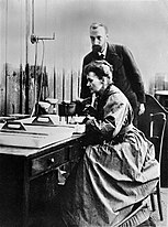 Pierre and Marie Curie at work in laboratory Wellcome L0001761.jpg