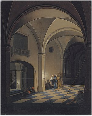 Pieter Neefs the Younger - Prison interior with St Peter fleeing with the angel